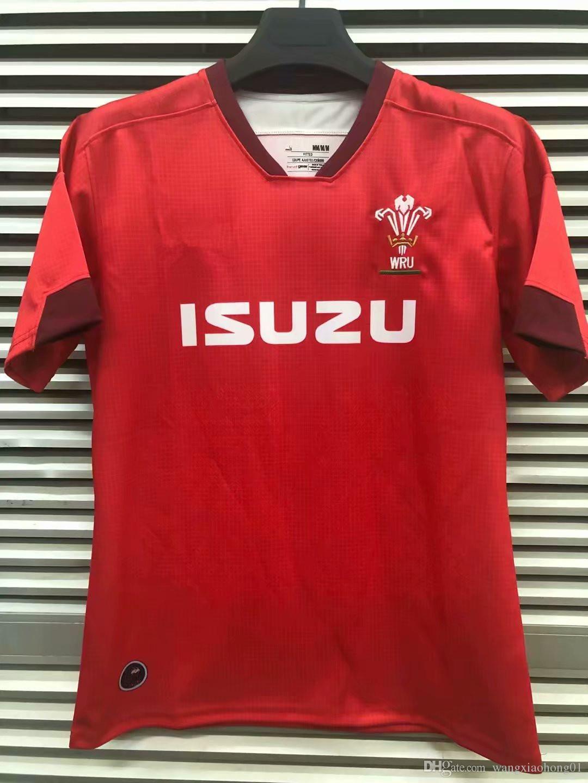 WALES HOME RUGBY JERSEY WALES 2019 Мужская рубашка из трикотажа WRU 7S JERSEY Рубашка из трикотажа регби Wales красная мужская рубашка размера S-3XL (можно распечатать)