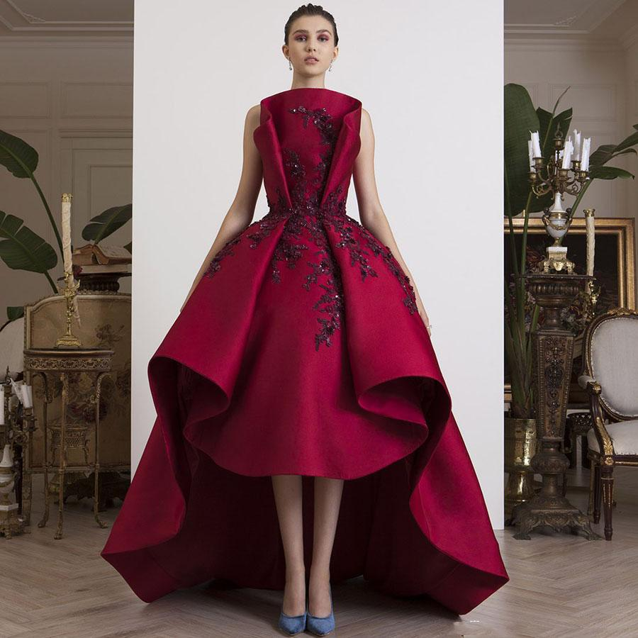 Chic Design High Low Prom Gowns strapless Burgundy Pleated Applique Satin Arabic Evening Gowns Abendkleider 2020 Formal Dress Custom Made