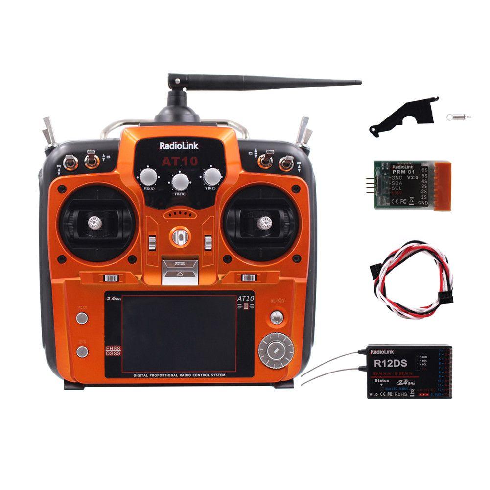 RC Trasmettitore Radiolink AT10II 12CH e ricevitore R12DS 2.4GHz DSSSFHSS Diffusione Radio Remote Controller per RC Drone / ala fissa / Multicopter