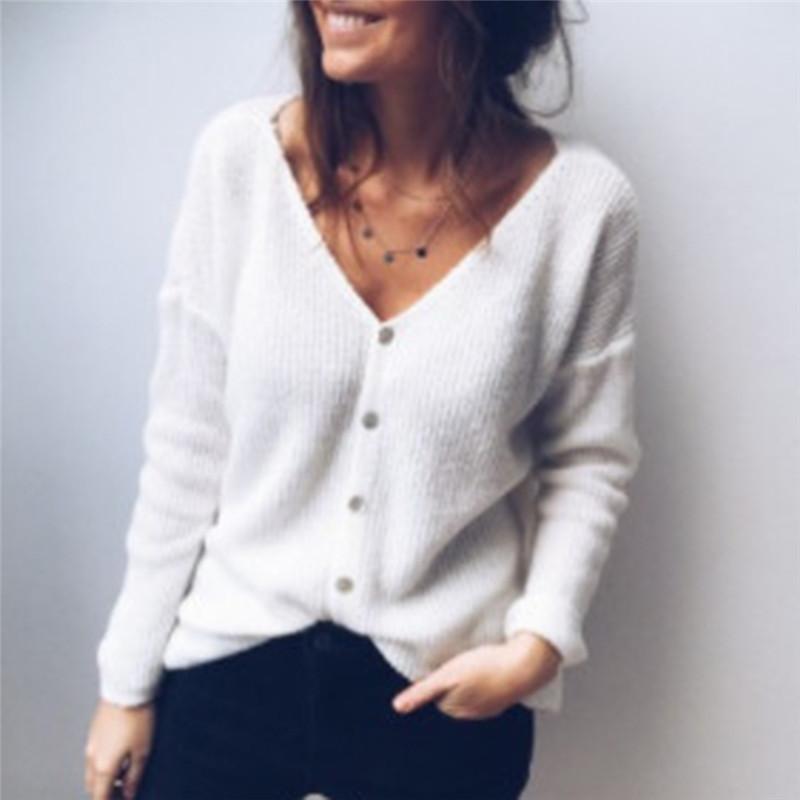 Женские вязаные тройники осень 2021 женский сексуальный глубокий V шеи кардиган свитер пальто с длинным рукавом вязаный с кнопкой компьютер вскользь