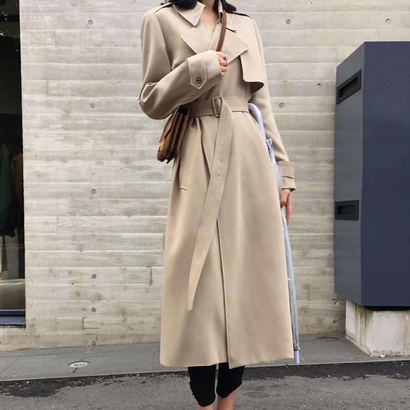 2019 Spring Women Long Coat Turn Down Collar Harajuku Women Black Beige Trench Coat Casaco Feminino Abrigo Mujer Trench Femme