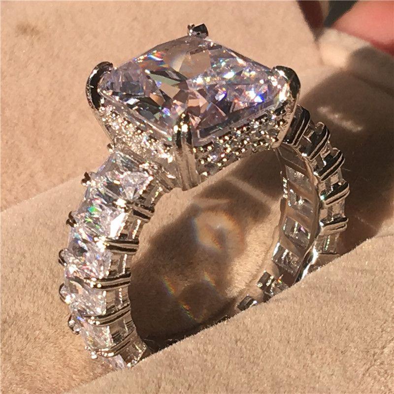 Anello Dazzling Promise in argento sterling 925 con taglio a diamante Diamond Engagement anello a fascia per donna Uomo gioielli dito