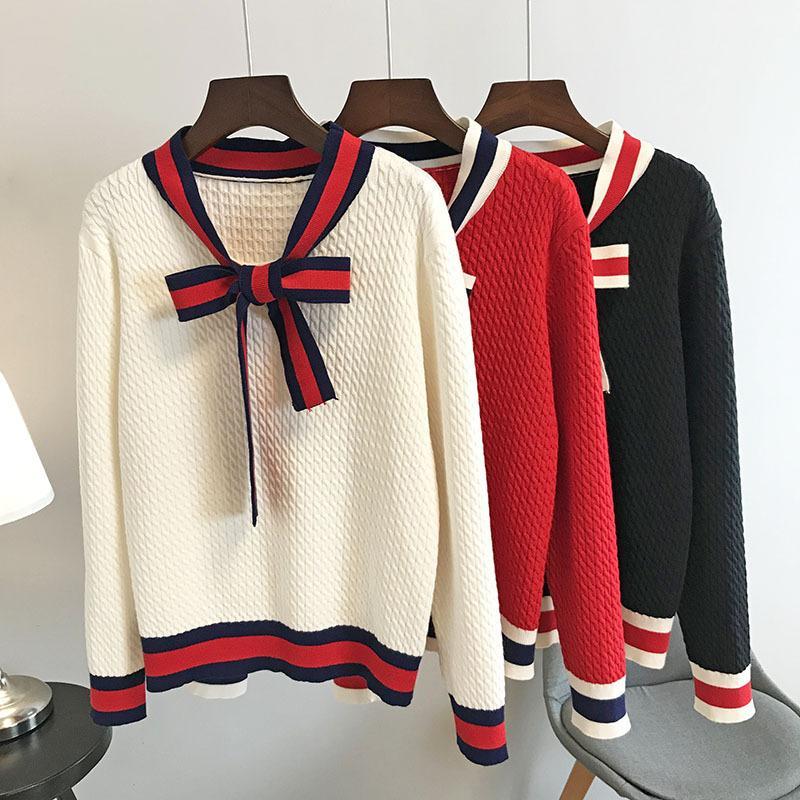 N14 2019 белый / черный / красный Colorblock вязаная Лента галстук лук лоскутное пуловеры свитер с длинным рукавом V шеи свитера OS19SPRPUR221D