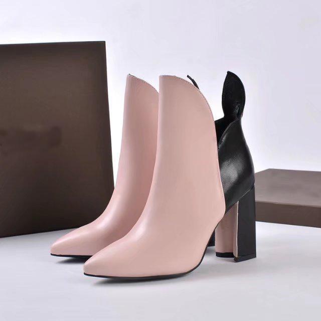Luxe New Femmes Bottines Martin Automne Hiver en cuir de vache Plateforme dames 95MM Hauts talons Slip-On Chaussures bottillons Livraison gratuite
