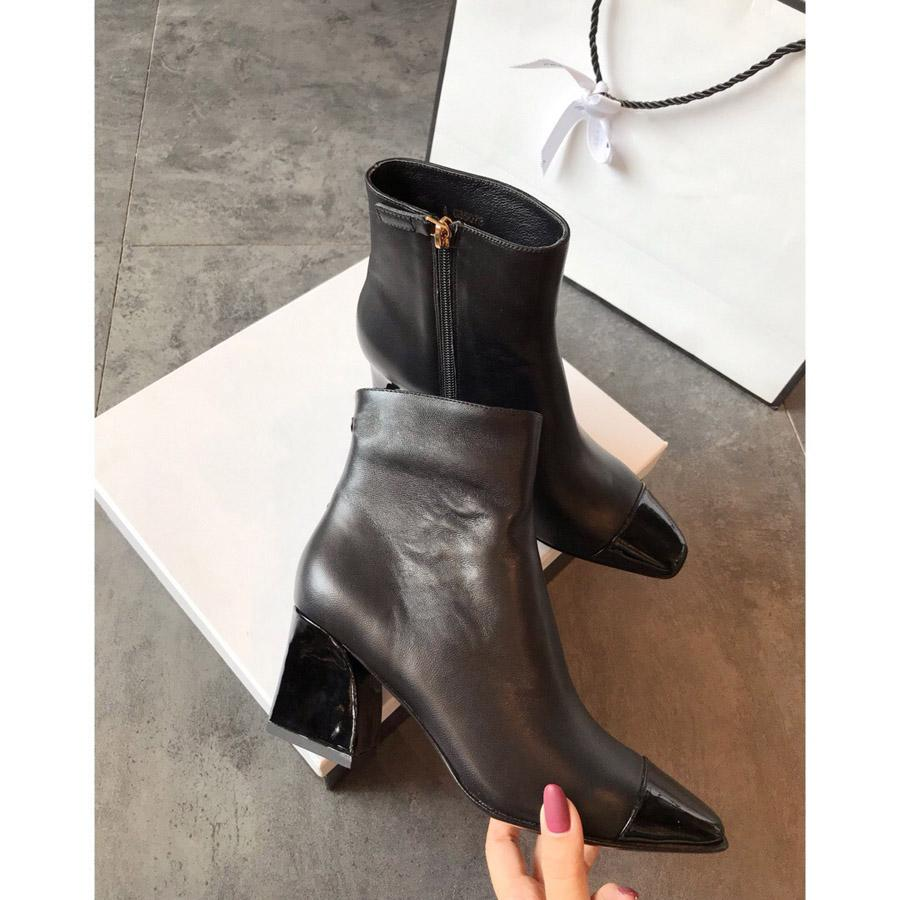 핫 Sale- C 소프트 통기성 가죽 특허 발가락 숙녀 '럭셔리 디자이너 신발 정품 양가죽 여성의 간단한 기본 부츠 Sizes35-40