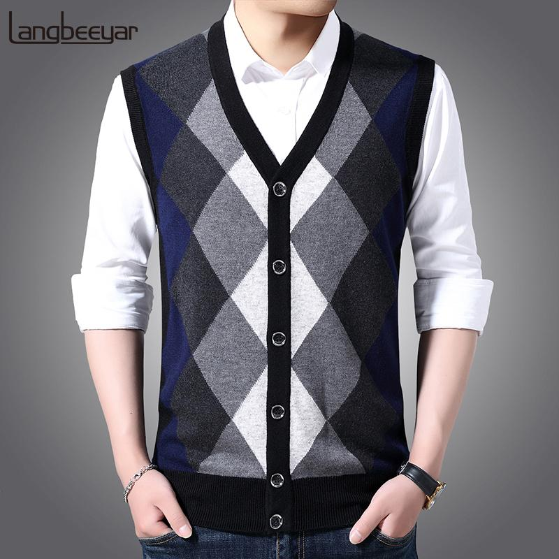 6% Wool Fashion Sleeveless Sweater Men Pullovers Cardigan Jumpers Knitwear Vest Winter V Neck Slim Fit Casual Clothing Male MX191214