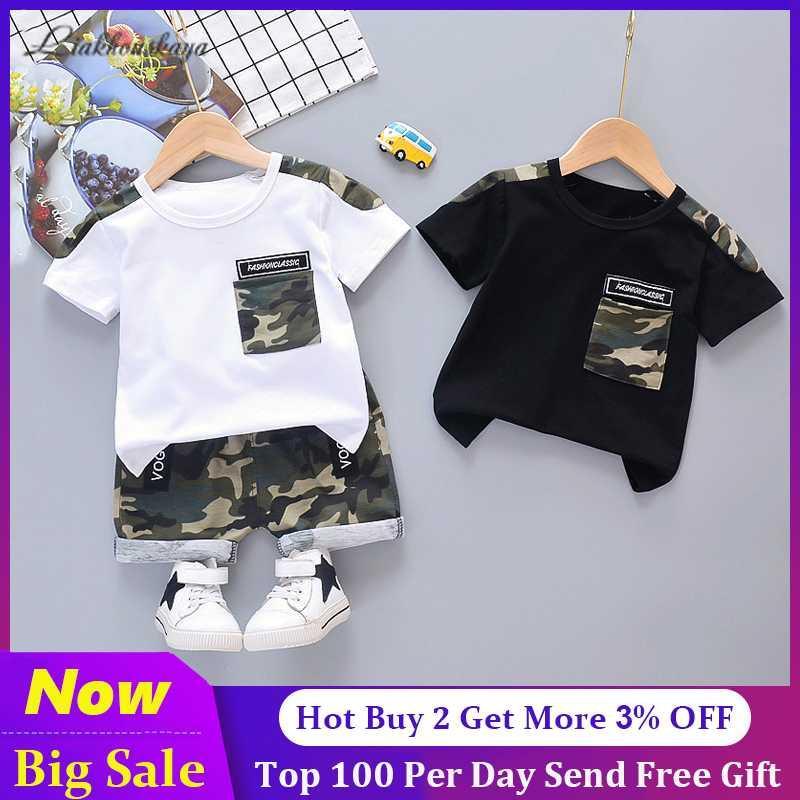 El bebé sistemas de la ropa de los pantalones de la venta caliente muchacha del niño de dibujos animados camuflaje verano de los niños muchachos de la ropa de los niños Conjunto algodón T-Mierda +