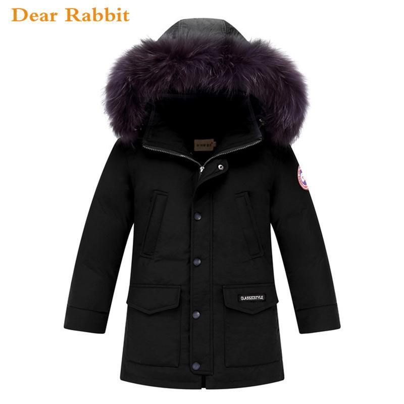 2018 Winter Down Jacket 대 한 Boy 옷 Children 's 옷 대 한 Kids Kids 겉 옷 코트 Hooded Warm 파카 Real 너구리 Fur