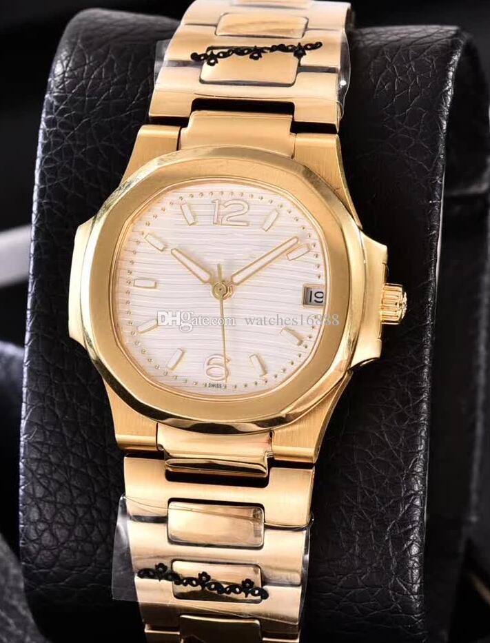 3 색 숙녀 7010R-011 35mm 노틸러스 18 천개 옐로우 골드 다이아몬드 베젤 쿼츠 운동 날짜 시계 여성 패션 시계