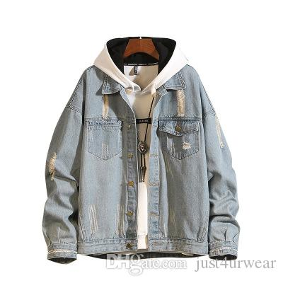 Bolso Masculino Vestuário Rua Mens Fashion Breve Denim Jackets Oversize Estações lapela pescoço Coats desgastado Vintage