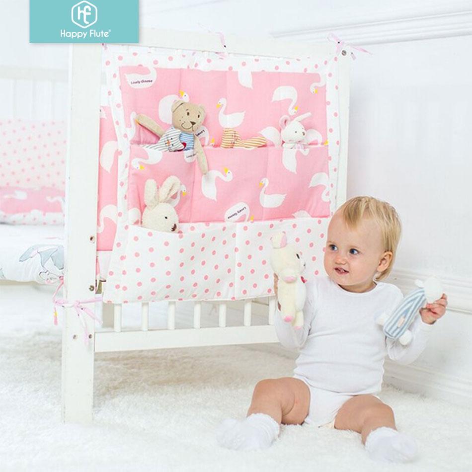 Happyflute Кровать Висячие сумка для хранения Детская кроватка кровать Марка хлопка младенца шпаргалки Organizer 50 * 60 см Игрушка Пеленки Карман для кроватки Постельные принадлежности Набор