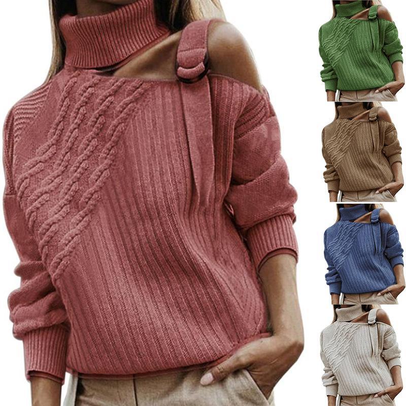 Mode Automne Hiver Femmes solides Pull couleur Knitwear Ladies évider Pull de femme bateau libre