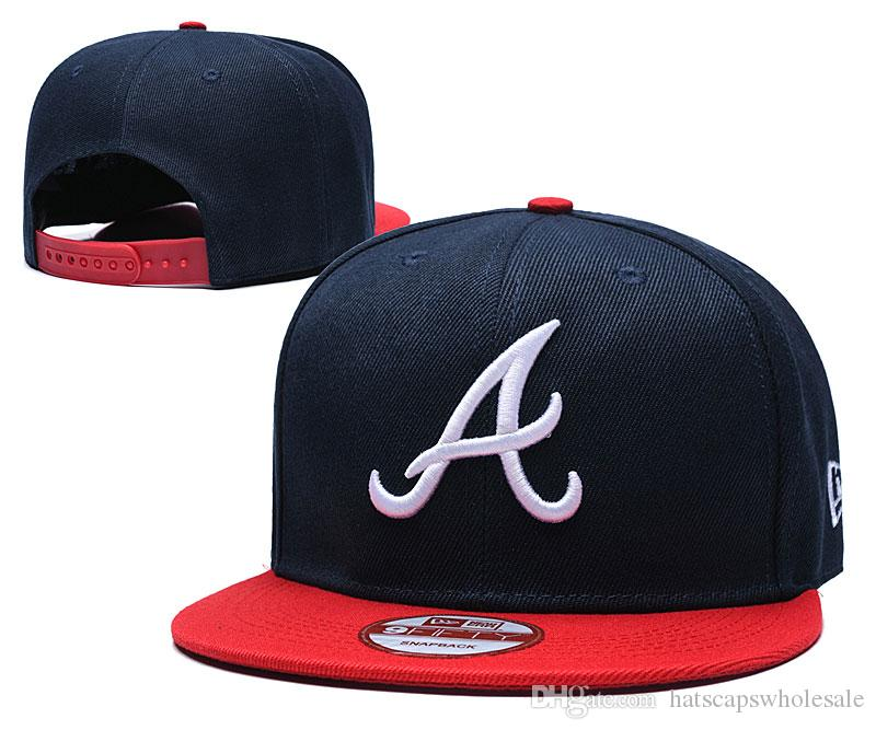 Fashion Top Quality Braves Snapback Hats Classic Naby Blue Red Bill Embroidered Letter A Bones Sports Baseball Flat Caps With Special Brim