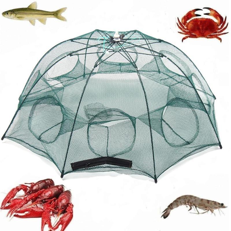 Katlanmış Balıkçılık Net 4/6/8/10 Delik Otomatik Balık Karides Tuzak Net Balık Karides Minnow Yengeç Yemler Mesh Trap Cast File