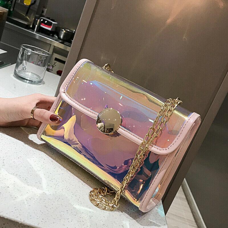 Yeni Kadın Çanta Güzel PVC Şeffaf Omuz Çantası Lady Lazer Jelly Çanta Debriyaj Çanta Seyahat Sokak Messenger Crossbody Çanta