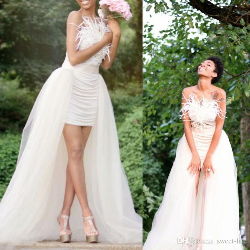 Straplez Tutu Etek Trim Tül Kat Uzunluk Uzun Düğün üst etek Tüy Ho Lo Elbise Beach A Line Gelin Elbise