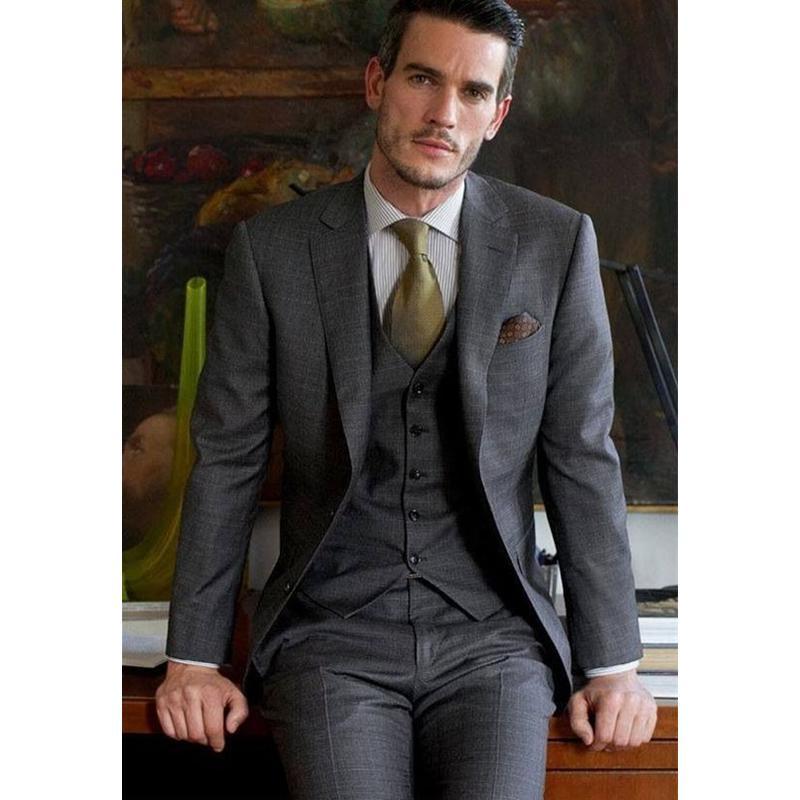 Grey Men Wedding Suit Slim Fit Skinny Tuxedo 3 Piece Formal Custom Suits Groom Blazer