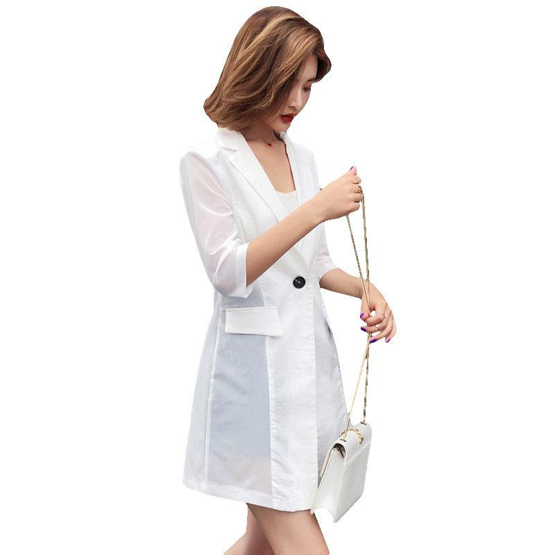 Women's Suits & Blazers Summer Chiffon Blazer Femme 2021 Chic Korean Half Sleeve Thin Patchwork Suit Jacket Long Sunscreen Shirt Tops Workwe