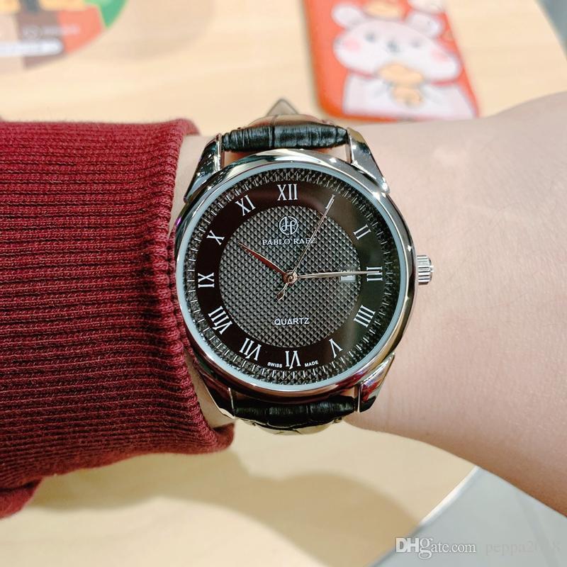 2020 Новая мода платье дата часы Человек Роскошные Часы Повседневный кожа дизайн кварцевые часы календарь Montre часы Relojes De Marca Наручные часы