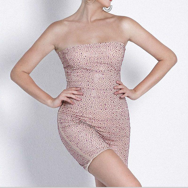 2019 New Ladys Strapless Sexy Sem Encosto Mulheres Bandage Jumpsuits Clube Rosa Diamante Moda Magro Bodysuit Romper Mulheres Curto Playsuit Macacão