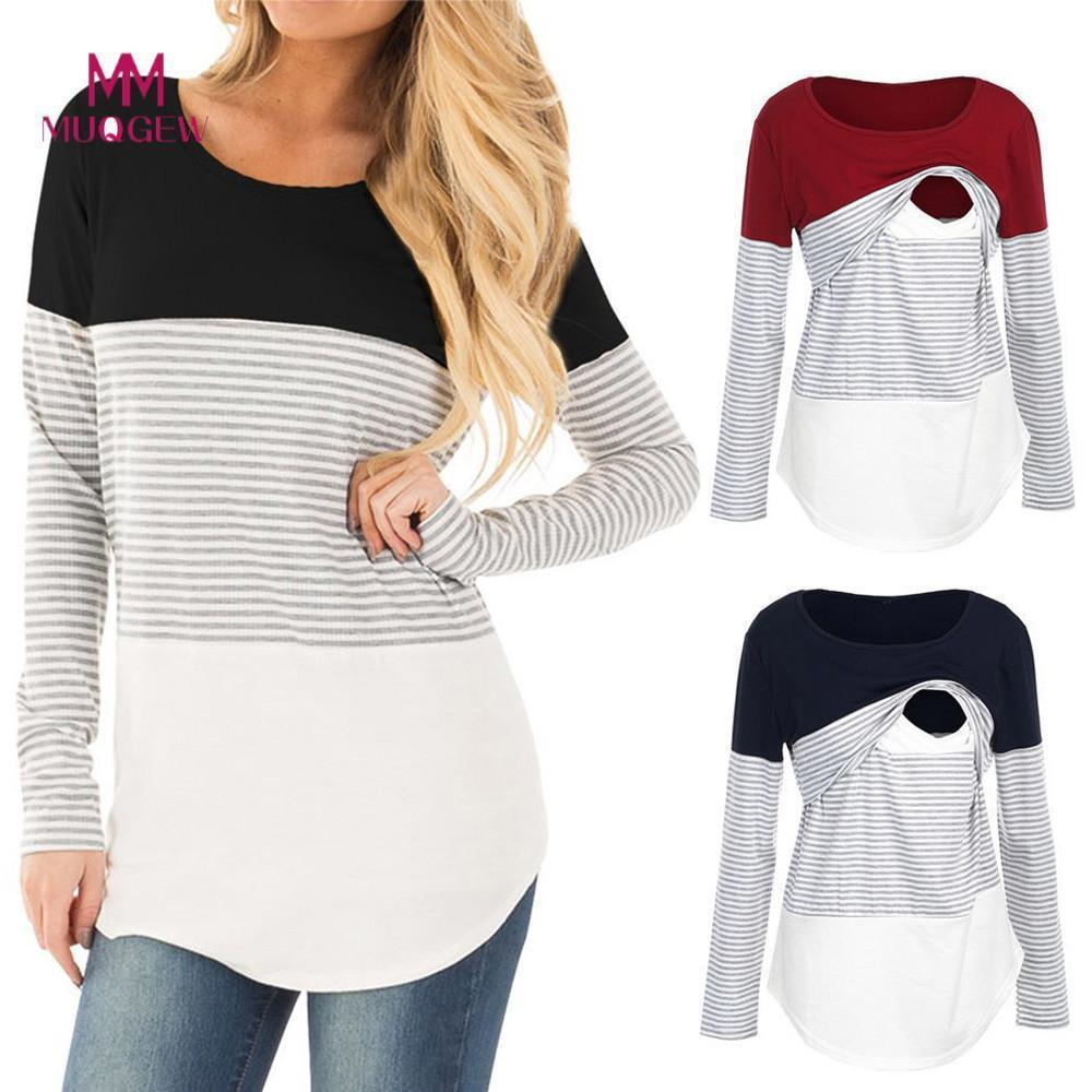 Shirt Nursing Tops For Pregnant Women Cotton Women Mom Pregnant Nursing Baby Maternity Long Sleeved Striped Blouse Clothes