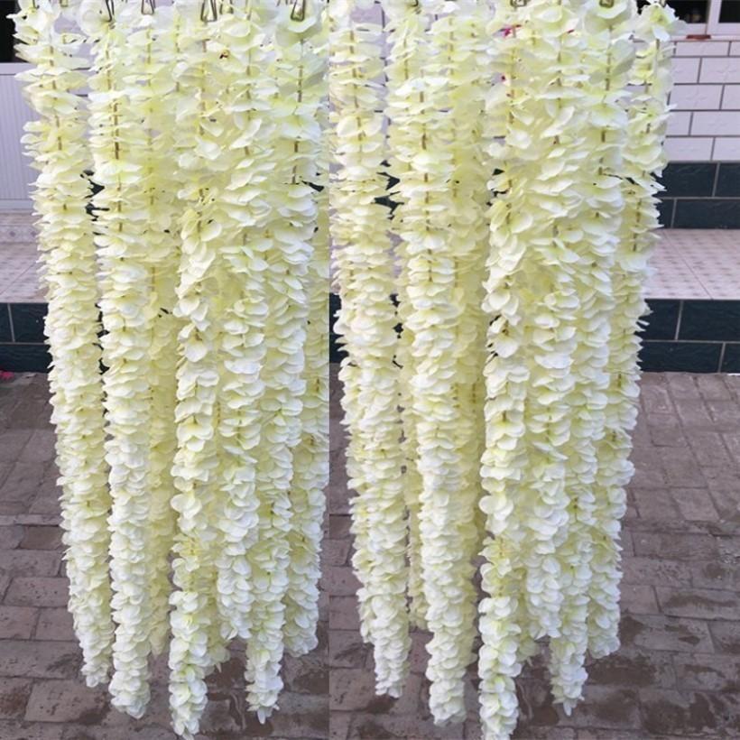 1 metro elegante colgante artificial de la orquídea de flores de seda blanca de la vid Wisteria Garland del ornamento por planta falsa Festival de boda decoración de jardín