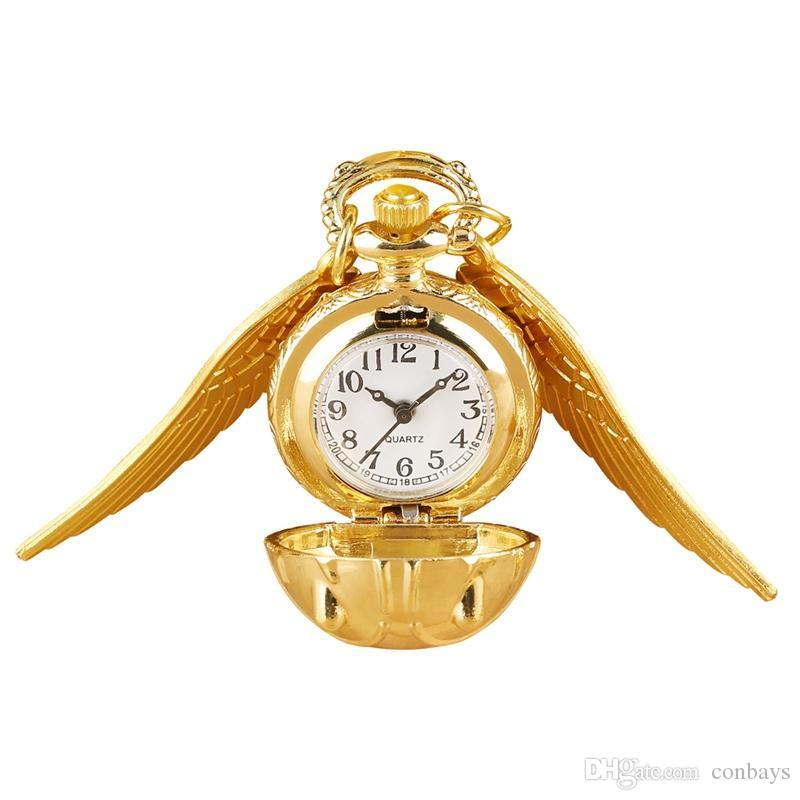 Unique Golden Ball Shape Pocket Watches Luxury Quartz Pocket Watch with Angle Wings for Ladies Stylish Small Dial Pendant Watch for Women