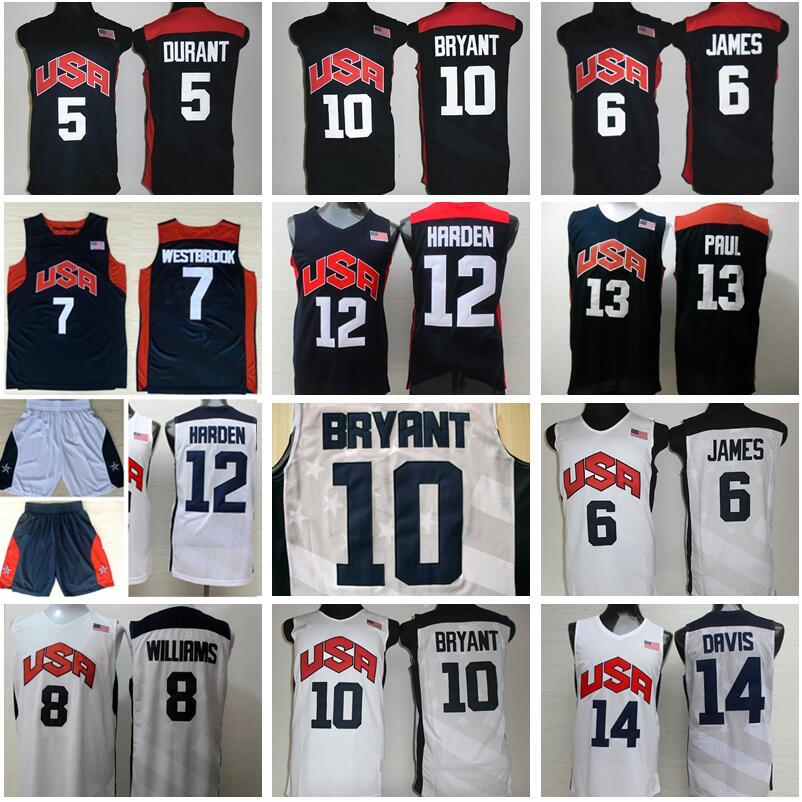 2012 Equipo de EE.UU. Baloncesto Jersey 10 KB de Estados Unidos 5 Kevin Durant, LeBron James 12 6 7 Harden Russell Westbrook, Chris Paul, Deron Williams, Anthony Davis