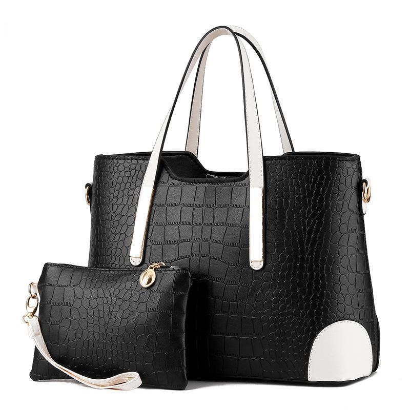 HBP 핸드백 지갑 여성 토트 가방 핸드백 지갑 세트 2 조각 가방 복합 클러치 여성 Bolsa Feminina Black