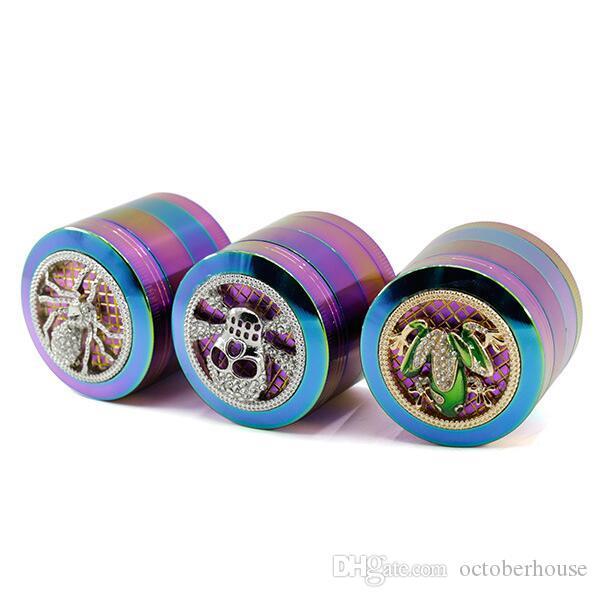 I più nuovi 4 Livelli colore dell'arcobaleno in lega di zinco Grinder 50 millimetri diamanter Spider modello del cranio Frog Forma Herb Tabacco Grinders Abrader