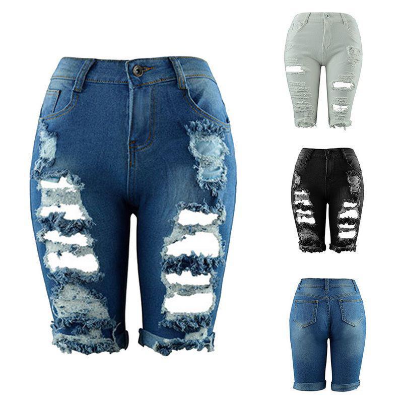 Mulheres Verão Meio Comprimento Jeans cintura alta rasgado Buraco estiramento Magro rasgadas Mulher de Moda de Nova Streetwear Denim Shorts