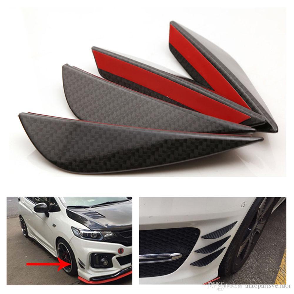 2019 YENİ Araba Şekillendirme 4pcs Siyah Karbon Fiber Fit Ön Tampon Lip Splitter Fin Hava Bıçağı Oto Body Kit Car Spoiler Canards Valence Çene