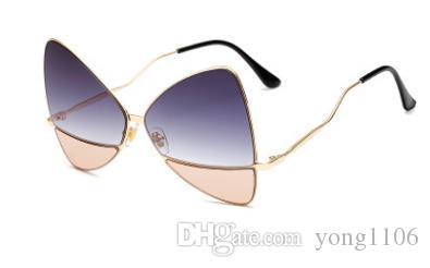 Nuevas gafas de sol de metal mariposa de moda europea y americana street shot Gafas de sol de malla roja con las mismas gafas de personalidad