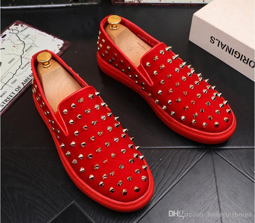 Scarpe casual moda uomo moda nuova di zecca oro rosso scintillio per il tempo libero slip on rivetti mocassini scarpe uomo partito scarpe da sarchiatura scarpe € 38-44