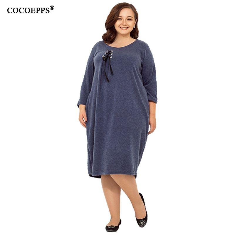Abiti casual Cocoepps Plus Size Donne Delle Donne Abito allentato 6XL Autunno Abbigliamento caldo Abbigliamento grande solido Ufficio femminile Grande Vestido