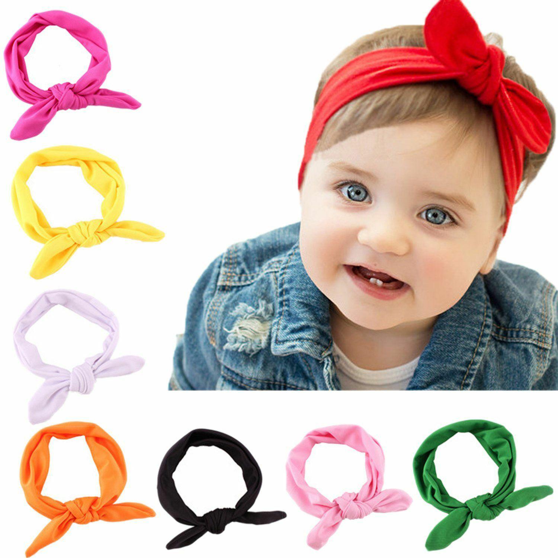 Elastik Bandana Accent Kurdeleler Bebek Kız Moda Katı Renk Bebek Kız Güzel Saç Bow Tie Gruplar Yenidoğan Şerit Headbands için