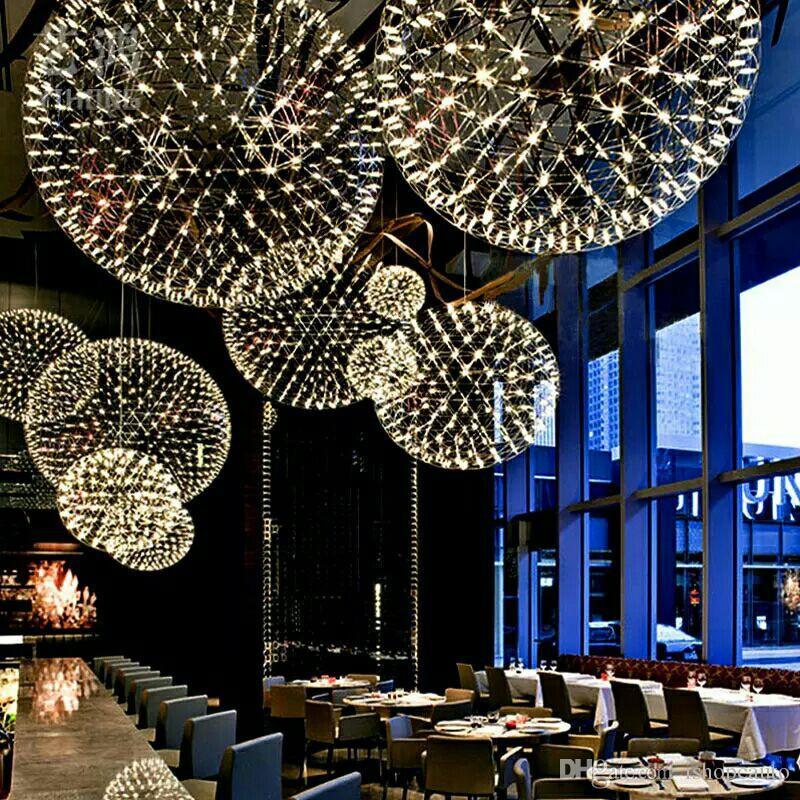 스파크 공 스테인레스 스틸 LED 샹들리에 현대 미니멀리스트 빛나는 별이 빛나는 레스토랑 스타 스파클 공 샹들리에 둥근 램프