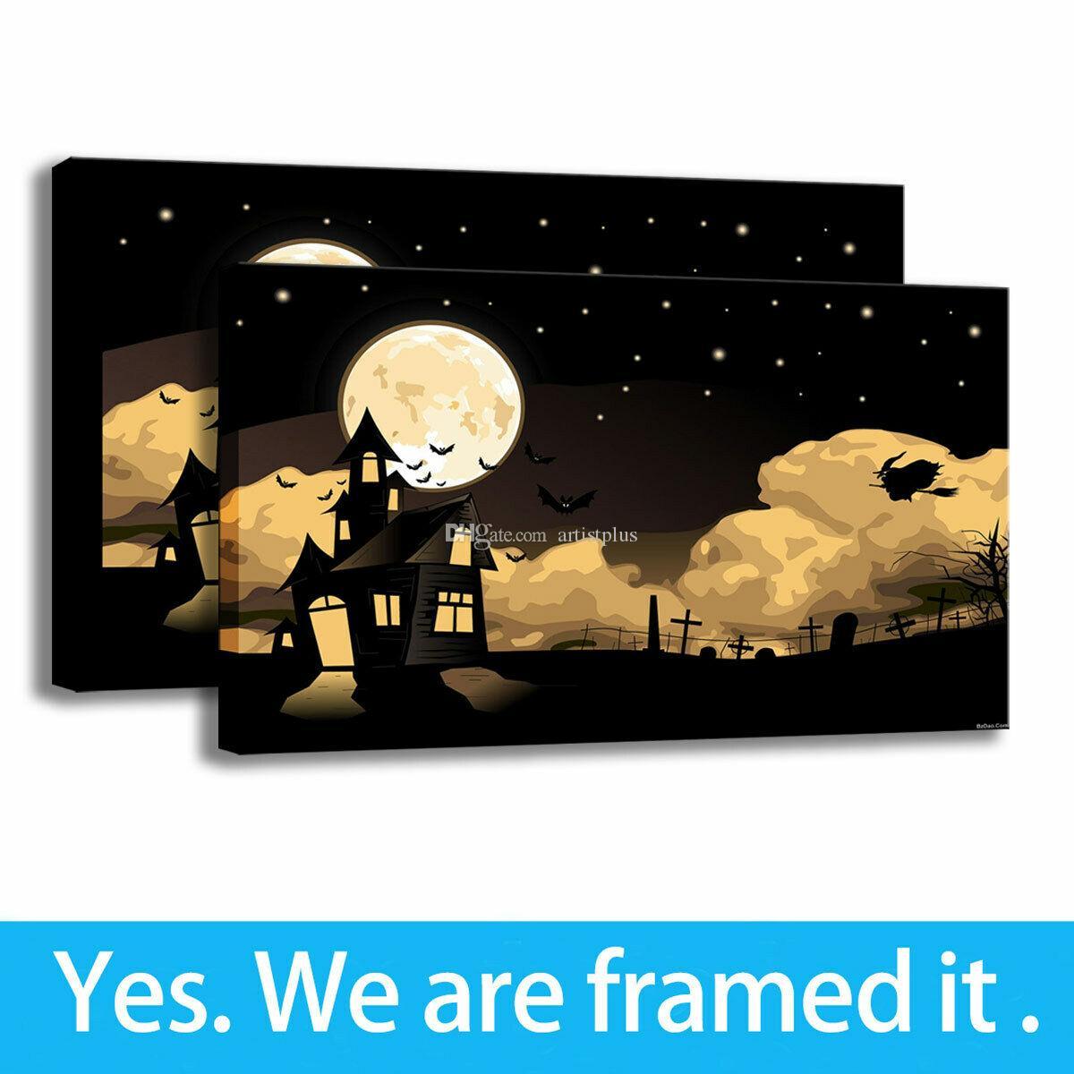 Halloween del arte de la lona Pintura Paisaje de dibujos animados de impresión Sala Decor Lámina enmarcada - listo para colgar - Soporte de personalización