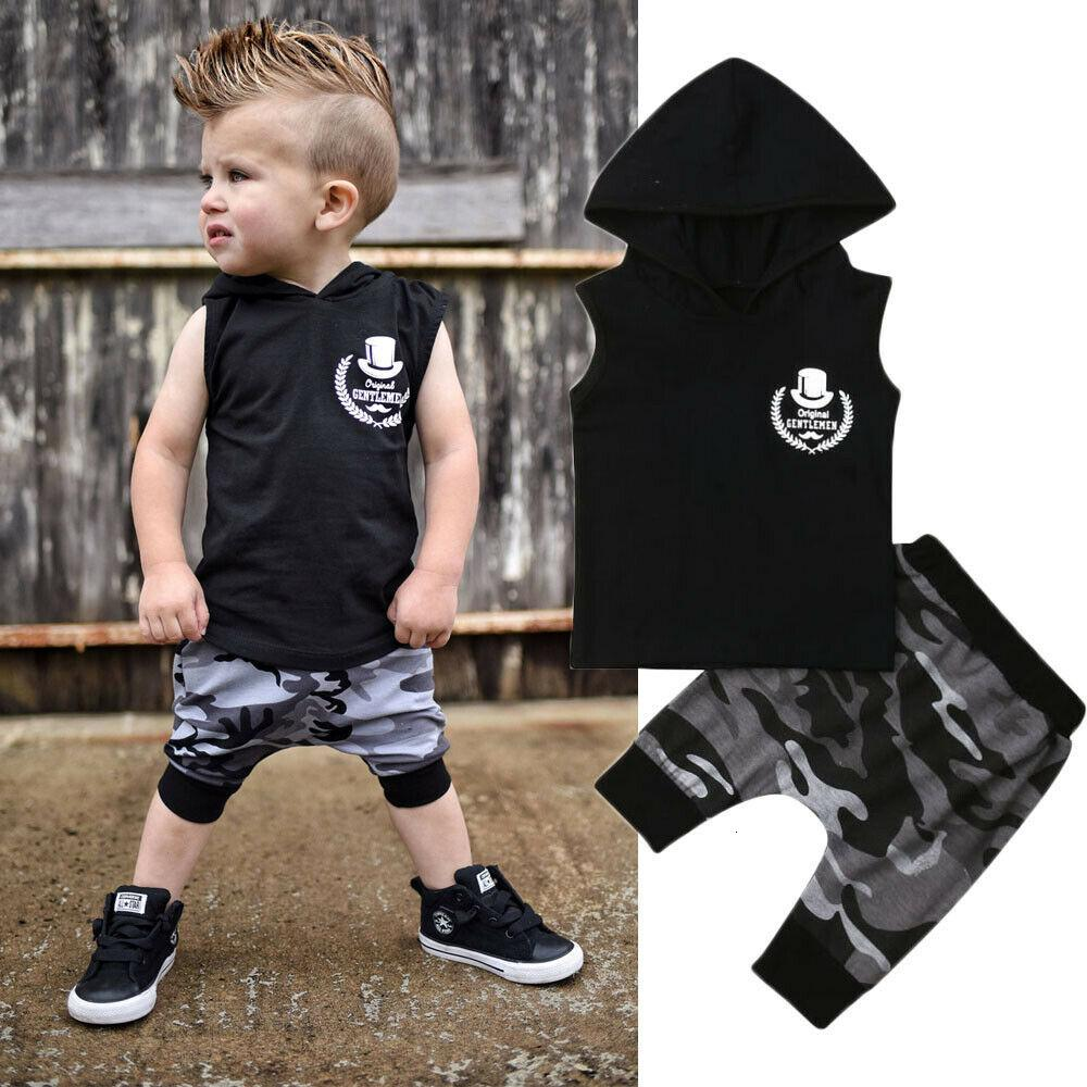 Baby 2019 Summer Toddler Kids Boy Clothes Sleeveless Hooded Vest Tops Camouflage Loose Shorts 2PCS Clothing Set