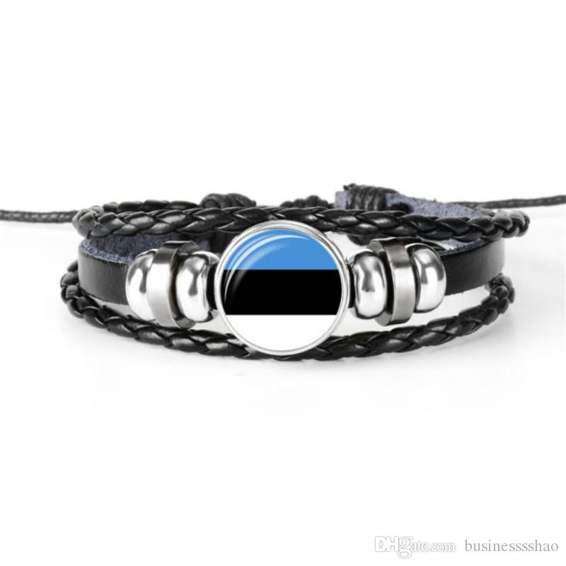 Cheap Hot Fashion Glass Cabochon Estonia National Flag World Cup Football Fan Bracelets Genuine Leather Rope Beaded DIY Jewelry Wholesale