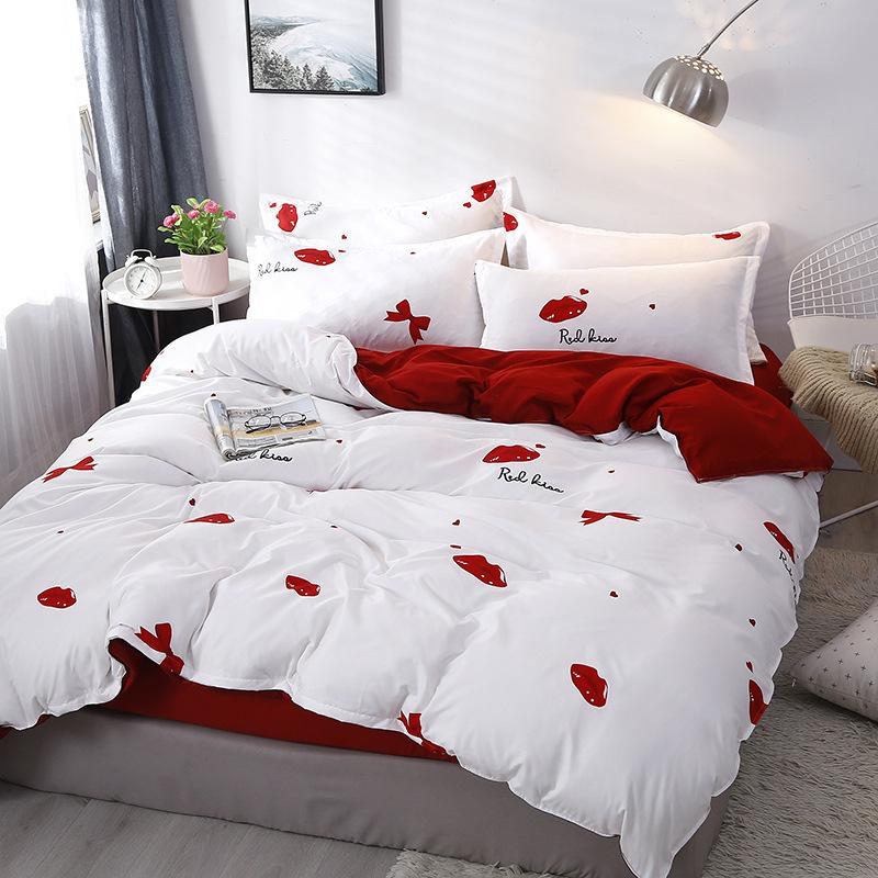 Home Textile Lip Print Pattern Bed, Red Queen Bed Set
