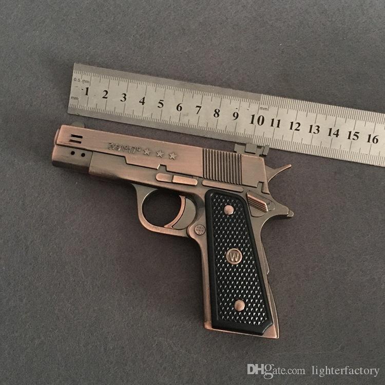 Nuovo arrivo Genuine PPK607 due canna della pistola accendino Full Metal Simulation Creatività 64 Modello gonfiabile a due fuoco della pistola della torcia