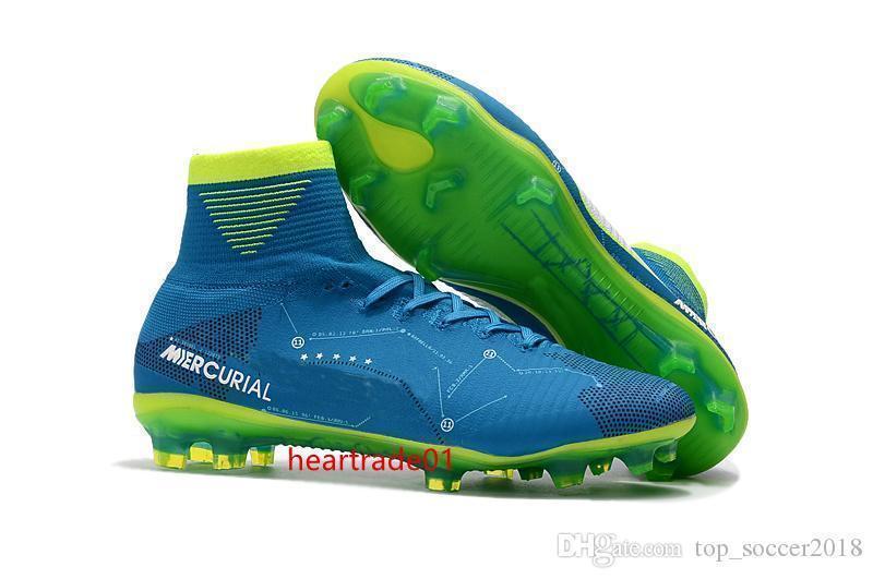 أزرق أخضر لكرة القدم المرابط زئبقي ال superfly V SX نيمار أطفال كرة القدم أحذية الكاحل العليا كريستيانو رونالدو رجل إمرأة أحذية كرة القدم