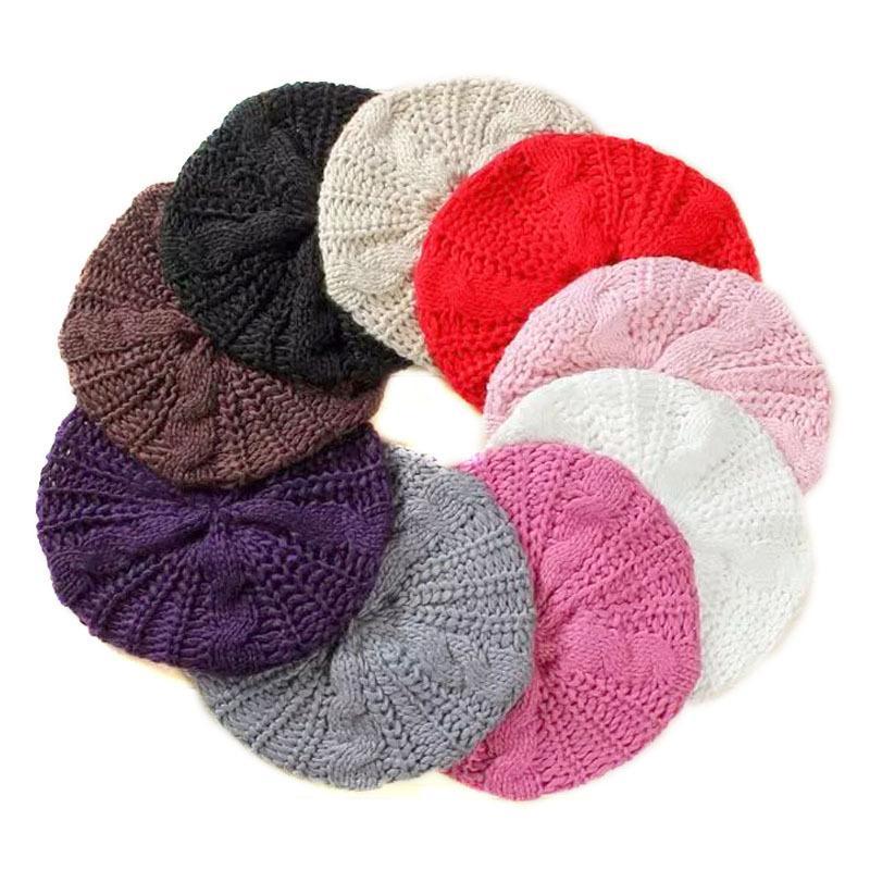 NOUVEAU HOT femmes bérets tricotés bonnets d'hiver chauds mode chapeaux de laine doux femmes béret Twisted Knit Hat béret de fil pour femmes