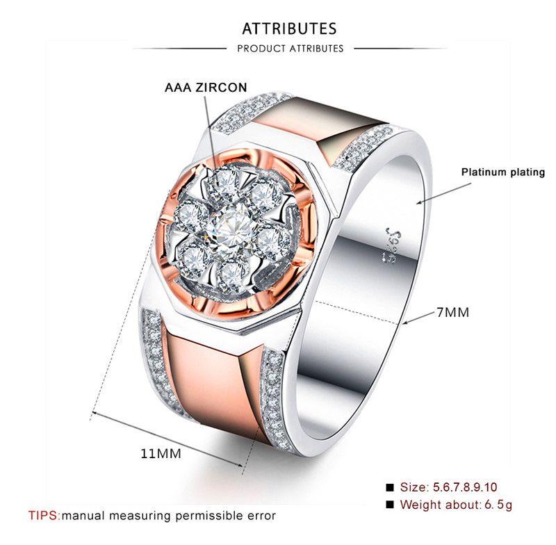 Brilliant Masculino Big Diamond Ring Moda 925 prata / jóias de luxo Rose do casamento do ouro Anéis de casamento do partido para homens
