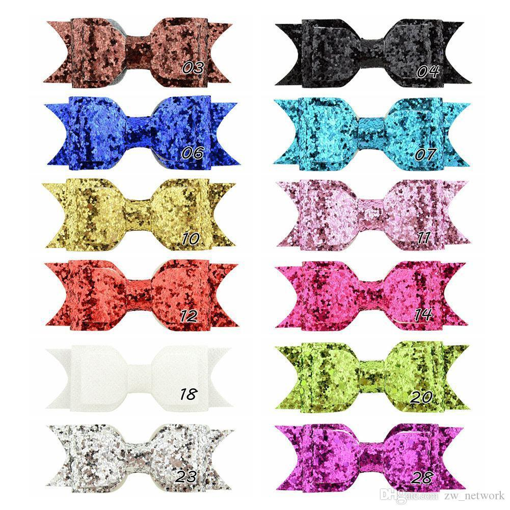 HOT Baby Girl Hair Clips Glitter Sequins Bow hair clip children wedding hair accessories hairpins Bling Barrettes Fashion Bangs Clip