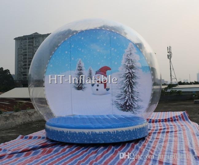 شحن مجاني 4M الأحدث الحجم عيد الميلاد نفخ الإنسان كرة الثلج غلوب خيمة فقاعة مع الإعلان الخلفية