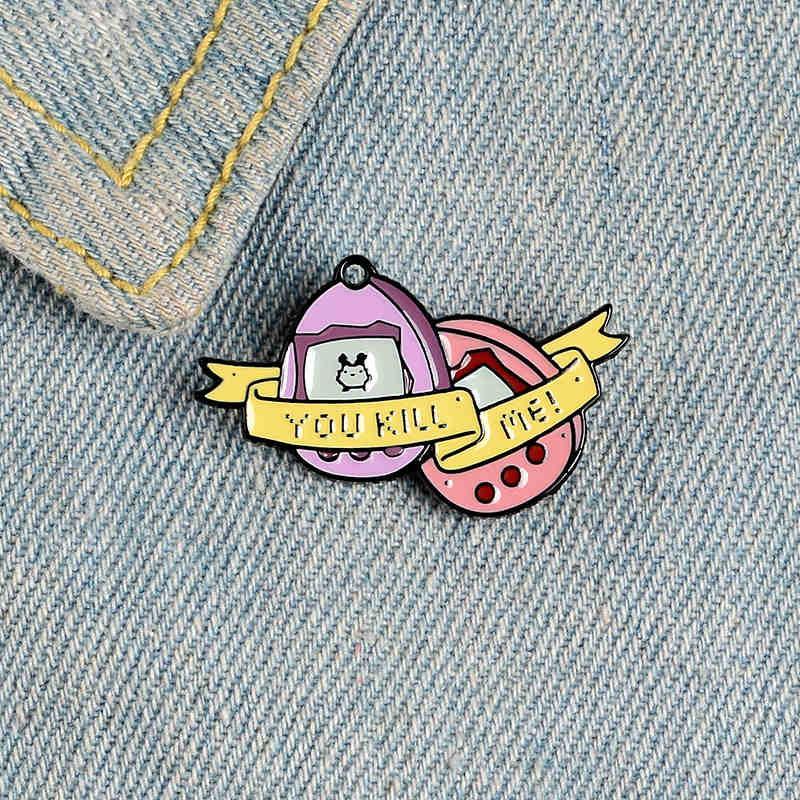 여자를위한 만화 게임기 에나멜 핀 애완 동물 개발 게임 배지 브로치 의류 가방 모자 옷깃 핀 귀여운 보석 선물