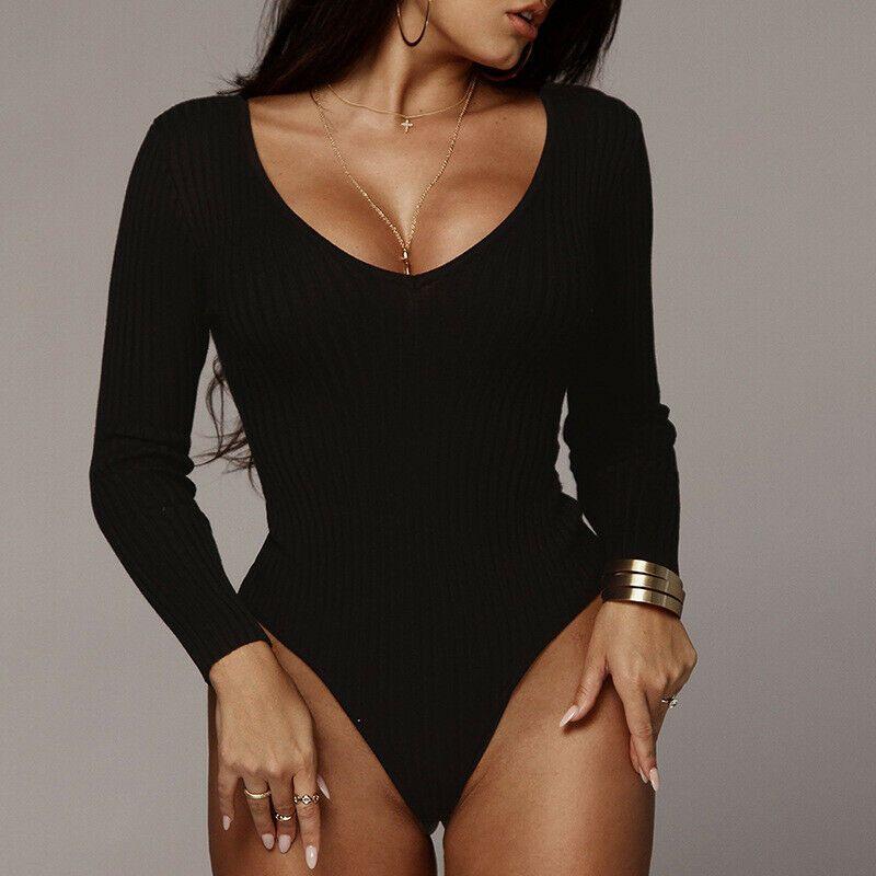 Mode Frauen Langarm-Strickspielanzug-Overall Bodysuit Stretch Slim Fit Schulterfrei Leotard Top