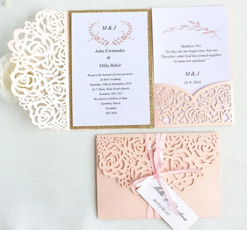 Rose Romantic Wedding Invitation Dirty Pink Spring Glittery Laser Cut Pocket Invite tri-fold invitation cards(no inner no envelope)